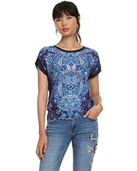 T S Sleeve Femme Woman Shirt Blue Short PkTZOXiluw