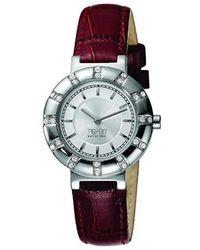 Esprit Montre - Quartz Analogique - Cadran Argent - Bracelet Cuir - Multicolore