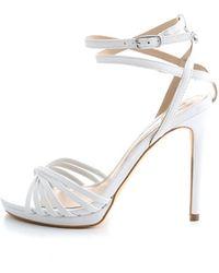 Guess Tonya/Sandalo (Sandal)/Leather, Escarpins Bride Cheville Femme - Blanc