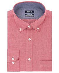 Izod - Slim Fit Collegiate Print Buttondown Collar Dress Shirt - Lyst