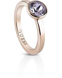 Guess Miami Collection Ring Rose Gold With Lavender Crystal Size 10 Ubr83028-50 - Multicolour