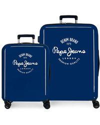 Pepe Jeans Nolan Kofferset Blau 55/70 cm Hartschale ABS Integrierter TSA-Verschluss 119,4 l 7,1 kg 4 Doppelrollen Handgepäckträger