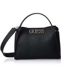 Guess Uptown Chic Turnlock Satchel 's - Black