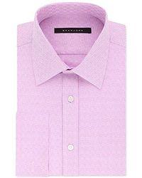 Sean John Tailored Fit Check Spread Collar Dress Shirt - Multicolor