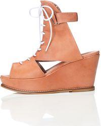 FIND Plateau Sandalen aus Leder mit Knöchelriemen - Mehrfarbig