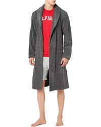 Tommy Hilfiger Icon Bathrobe - Peignoir - - Gris (MAGNET 884) - Taille: