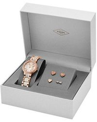 Fossil - Virginia Three-hand Stainless Steel Watch And Earring Set - Lyst