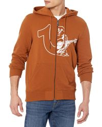 True Religion Half Logo Long Sleeve Zip UP Hoodie Felpa Intera - Arancione
