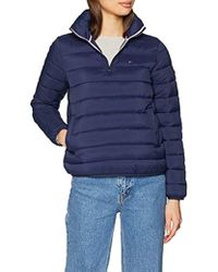 Tommy Hilfiger Donna Basic Quilted Hooded Popover Giacca impermeabile Maniche lunghe - Blu