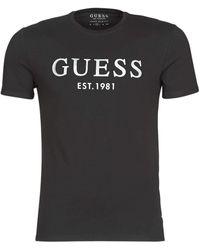Guess Tee Shirt Stretch Logo Argent Logo Jeans - Noir