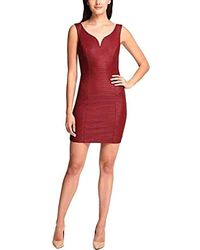 Guess Sweetheart Bodycon Dress (10, Wine) - Red
