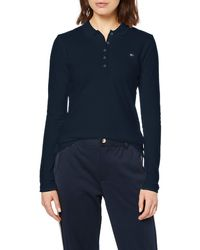 Tommy Hilfiger Heritage Long Sleeve Slim Polo Mujer - Azul