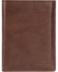 Le Tanneur Grand portefeuille vertical zippé 3 volets Gary en cuir huilé . - Marron