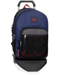 Pepe Jeans , Mochila Doble Compartimento con Carro, 46 cm, 21.39 litros, Multicolor - Azul