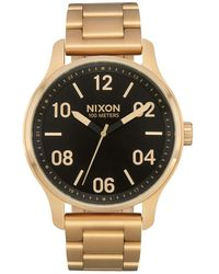 Nixon Patrol Gold/Black 's Quartz and Custom Stainless Steel Watch. (42mm. Gold & Black Watch Face/Gold Stainless Steel Band) - Mettallic