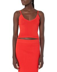 The Drop Roni V-neck Cropped Jumper Tank - Red