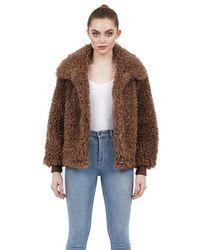 Love Token Mary Jane Faux Fur Plush Bomber Jacket - Brown