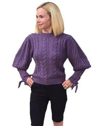 525 America Cable Puff Sleeve Pullover Sweater - Purple