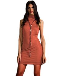 Sheri Bodell High Neck Crystal Mini Dress In Rust - Red
