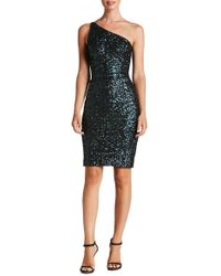 Dress the Population - Cher One Shoulder Sequin Dress In Navy - Lyst