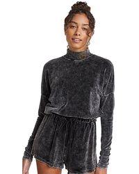 Bella Dahl Velour Mock Neck Pullover - Black