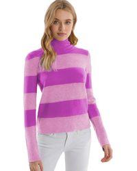 525 America Cashmere Rugby Striped Mock Neck Sweater - Purple