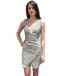 Sheri Bodell | Fringe Ruched Dress In Grey | Lyst