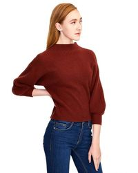 525 America Cashmere Balloon Sleeve Sweater Pullover - Red