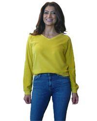 Bobi V Neck Raglan Pullover - Yellow