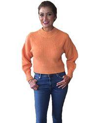 525 America Cotton Transfer Stitch Crop Sweater - Orange