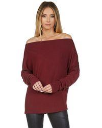Michael Lauren Santos Drop Shoulder Boat Neck Sweater - Red