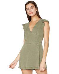 Pam & Gela - Ruffle Sleeve Laced Back Romper In Freedom Green - Lyst