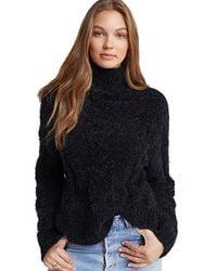 Bella Dahl Fuzzy Cable Knit Turtleneck Sweater - Black