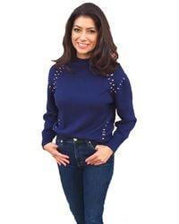 525 America Mock Neck Long Sleeve Sweater - Blue