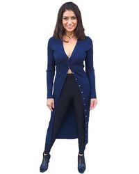 525 America Wide Rib Long Cardigan - Blue