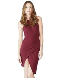 Blaque Label - Knit Overlay Dress In Wine - Lyst