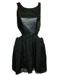 Sheri Bodell | Black Leather Bodice Mini Dress | Lyst