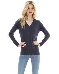 Bobi V Neck Rib Mix Sweater In Black
