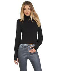 Michael Lauren Loki Crop Turtleneck Sweater - Black