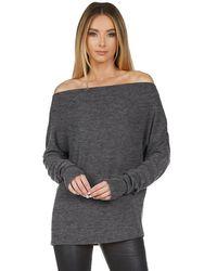 Michael Lauren Santos Drop Shoulder Boat Neck Sweater - Gray