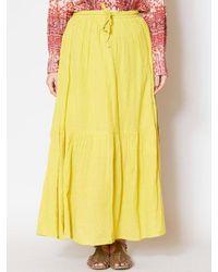 yul Plain Crepe Tiered Maxi Skirt - Yellow