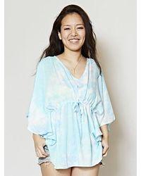 Kahiko Dreamy Ocean Tie Dye Poncho Top - Blue