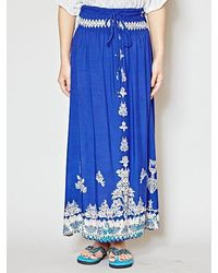 yul Batik Style Print Long Skirt - Blue