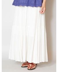 yul Plain Crepe Tiered Maxi Skirt - White