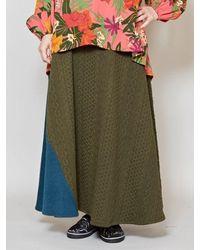 yul Velour Patchwork Maxi Skirt - Green