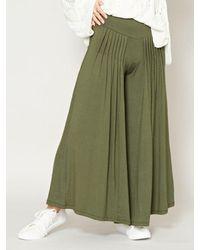 Kahiko Tuck Flare Wide Pants - Green