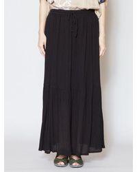yul Plain Crepe Tiered Maxi Skirt - Black