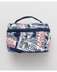 Kahiko Hawaiian Motif Cosmetic Bag - Blue