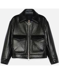 AMI Zipped Jacket With Flap Pockets - Black