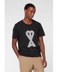AMI De Cœur Linear Cotton Logo T-shirt - Black